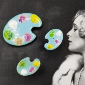 Vintage enamel Painters pallet brooch & cuff links